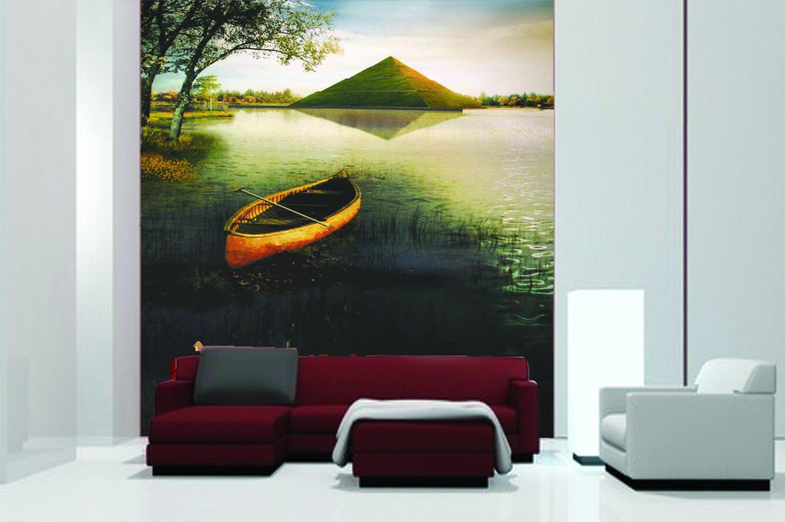 3D Boat River Sky 4 Wallpaper Murals Wall Print Wallpaper Mural AJ WALL AU Lemon