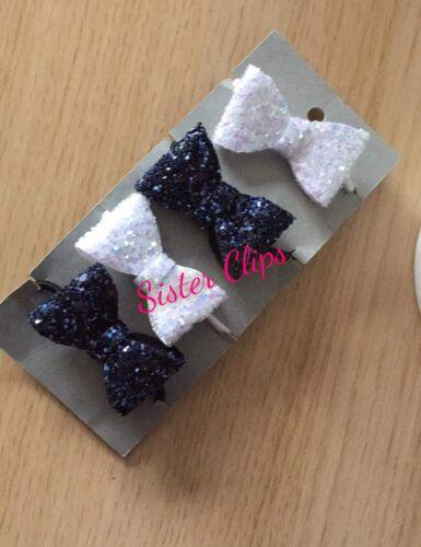 Girls Handmade 4 baby//toddler small white /& blue Glitter Hair Bow clips