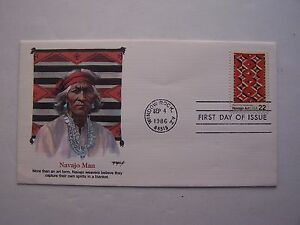 """Navajo Art"" Navajo Man Stamp First Day Cover 1986 Wind"