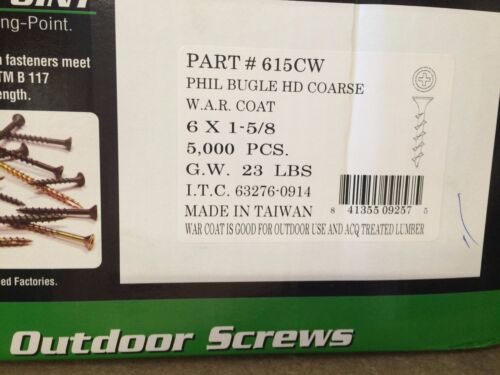 "Coat 100 #6 X 1-5//8/"" Drywall Decking Screws Phillips Drive W.A.R"