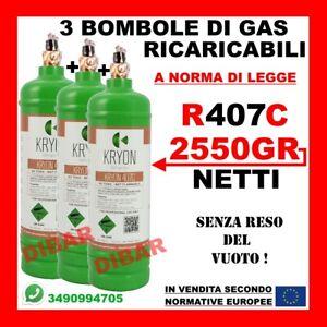 3 BOMBOLE GAS REFRIGERANTE R407C DA 1 LT RICARICA CONDIZIONATORE AUTO