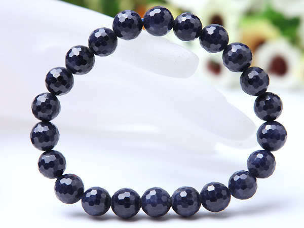 Natural bluee Sapphire Gemstone Faceted Beads Stretch Bracelet 9mm AAA