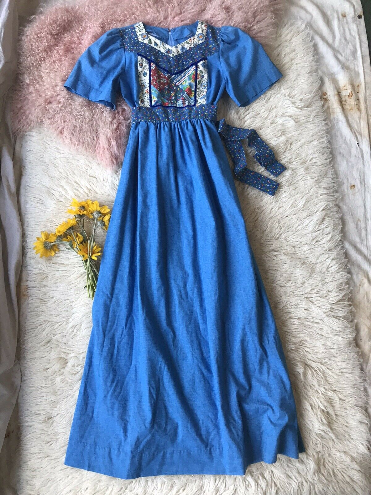 Vintage Homespun Gunne Sax Style Quilted Patchwor… - image 2