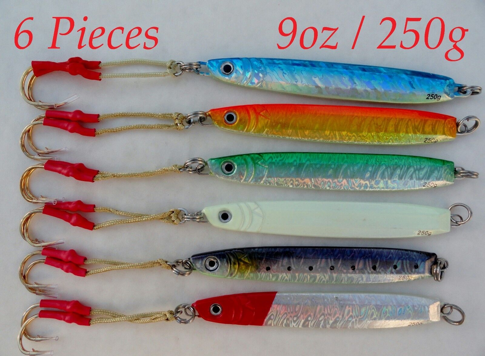 Knife Jigs 9oz 250g 6 Pieces greenical Speed Saltwater Fishing Lures Choose color