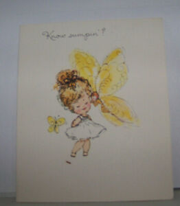 Vintage-Greeting-Card-Norcross-Informal-Know-Sumptin-039-Butterfly-amp-Fairy-Pixie