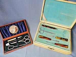 Two-Vintage-Manicure-Sets-19-x-14-x-6-cm