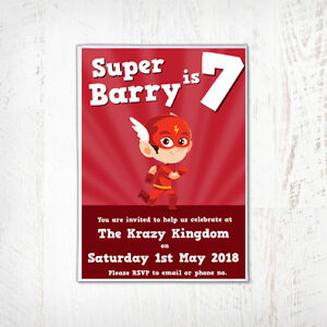 Image Is Loading The Flash Birthday Invitation Personalised DC Superhero Comicbook