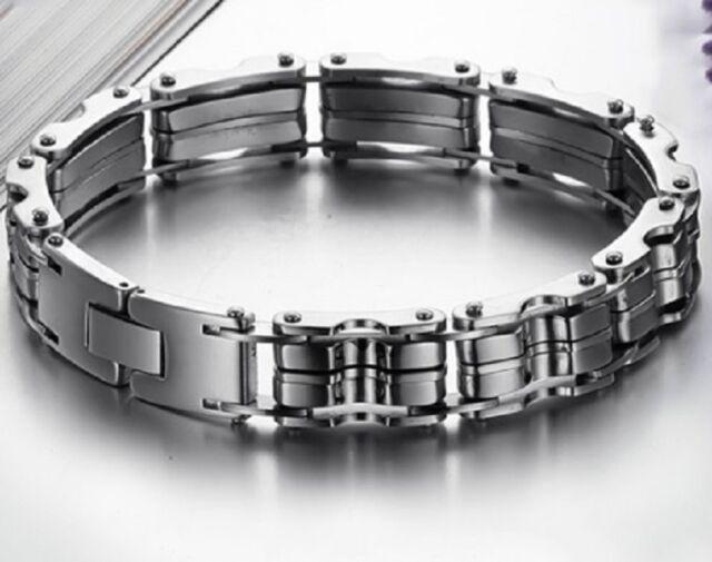 Heavy 23cm Silver Stainless Steel Chain Bracelet Motorbike Motorcycle Bike Uk B8