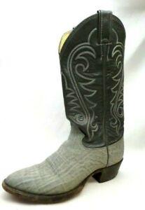 804692cfdef Details about Vintage Justin Grey Leather 8527 Exotic Elephant Print Cowboy  Boots Women's 7 D