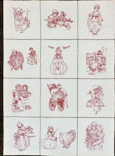 "Thanksgiving Blessings Iron-On Embroidery Transfers-10/"" Blocks"