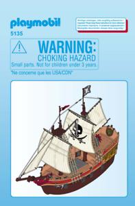 Playmobil-Bateau-Pirate-Pieces-de-rechange-5135-Rigging-Voiles-Mats-Hull