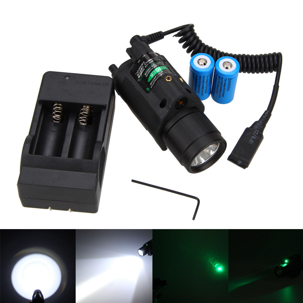Tactical Green Red Laser Sight LED Flashlight Combo+Picatinny Rail Mount Battery