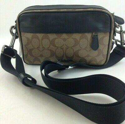 New Coach F50715 Signature Canvas Graham Crossbody Handbag Antique Nickel//Tan