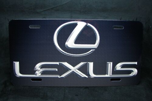 LEXUS METAL NOVELTY LICENSE PLATE TAG FOR CARS  CARBONFIBER LOOK BACKGROUND