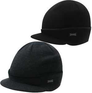 Lonsdale-Peak-Winter-Hat-Black-Gray-Beanie-Hat-Winter-NEW