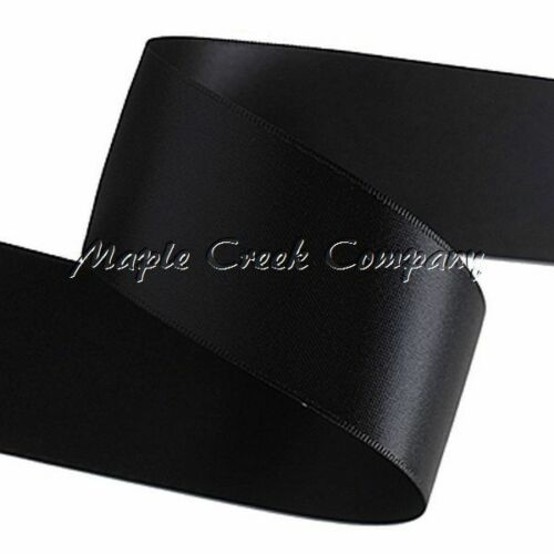 """3yd of Black 1//4/"""" Double Face Satin Ribbon 1//4/"""" x 3 yards neatly wound"""