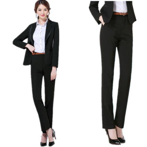 Women Lady Trousers High Waist Slim Work Formal Business Suit Straight Leg Pant