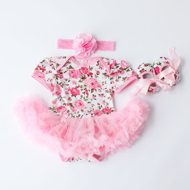 3pcs Rose Flower Newborn Baby Girls Romper Dress Jumpsuit Outfits Clothes