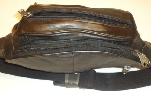 """New Large Fanny Pack GENUINE LEATHER to 46/"""",Black"""
