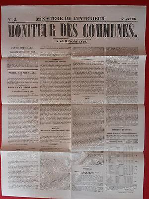 Enthousiast Journal Le Moniteur Des Communes Ministere De L'interieur N° 5 - 3 Fevrier 1859 Voorzichtige Berekening En Strikte Budgettering