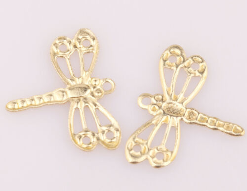 Wholesale 100pcs Golden Tone Hollow Dragonfly Charm Pendants Metal 12X15MM NEW