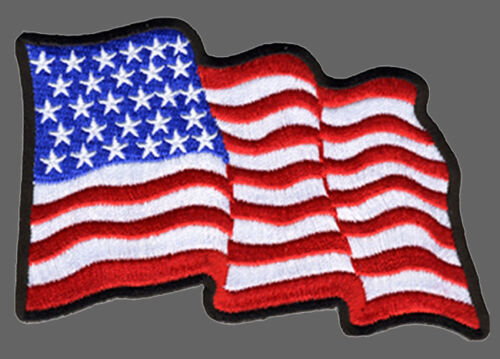 US Flag Waving in the wind  EMROIDERED IRON ON BIKER PATCH