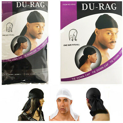 SPORT DU-RAG TIE DOWN CAP BLACK BREATHABLE SPORT FABRIC UK STOCK FREE DISPATCH