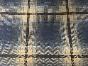 Romo Blue Ombre Check Plaid Upholstery Fabric Dalton Cobalt 2 60 Yd