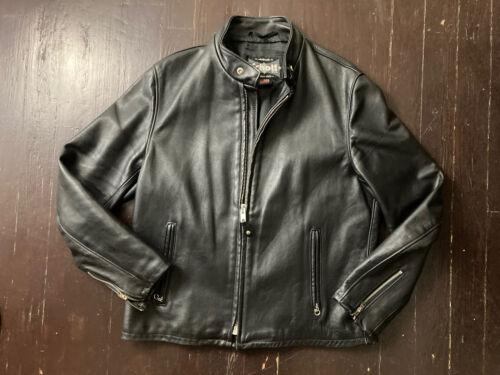 Schott NYC Black Leather Cafe Motorcycle Jacket Sz