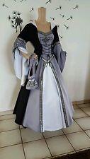 Traumhaftes Larp*Gothic*Mittelalter Gewand*Schwarz GrauWeiß34-56 Maß anfertigun