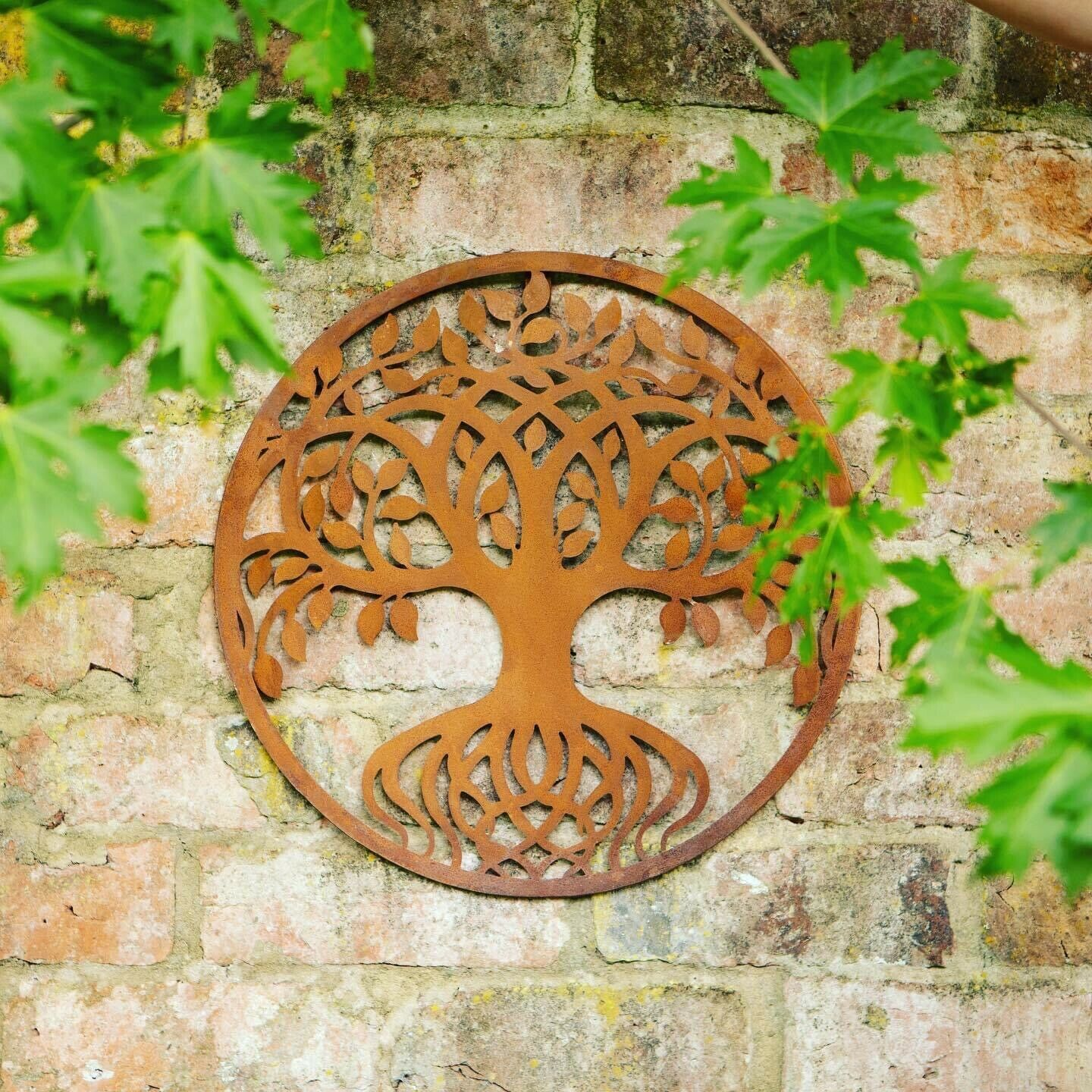 Tree Of Life Garden Wall Fence Plaque, 40cms, Rusted Aged Metal