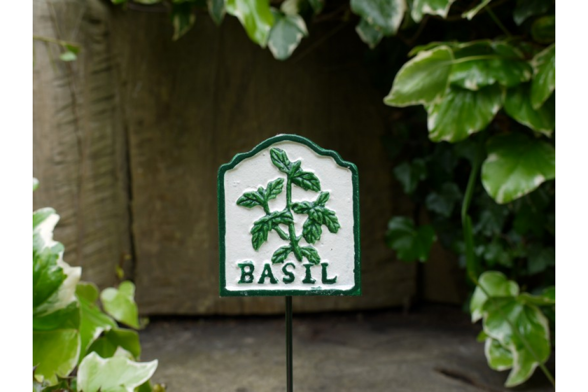Basil Herb Sign Cast Iron Painted - Perfect for Your Pots