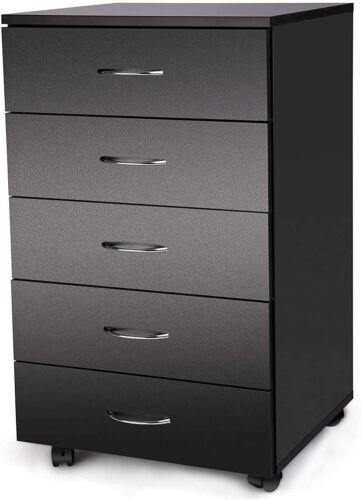 5-Drawer Chest Mobile File Cabinet Drawers Unit Dresser Cabinet Black Wheels
