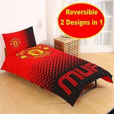 NEW MANCHESTER UNITED FADE SINGLE DUVET QUILT COVER SET KIDS MAN UTD FOOTBALL