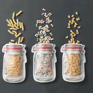 12x Mason Jar Pe Lock Pouches Food Storage Zipper Bags Smell Proof