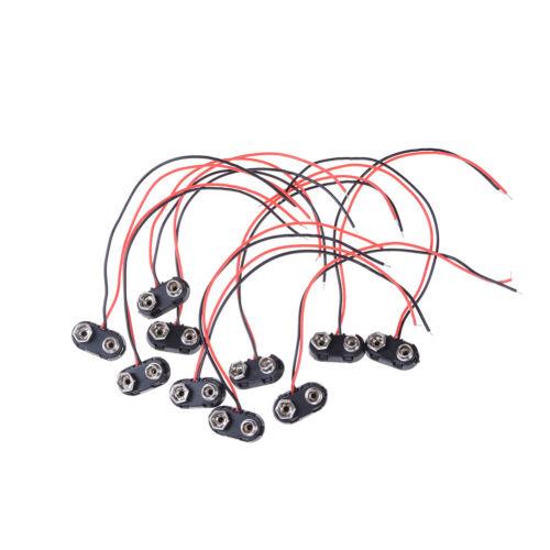 10X Batterie 9V Connecteur Agrafe Câble Porte-Fils Type//