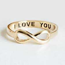 INFINITY 'I LOVE YOU' ENGRAVED INSIDE GOLD COLORED ALLOY RING SIZE 5 1/4 USA