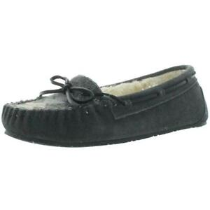 New Women's Minnetonka Lodge Trapper Slippers Moccasins Gray Suede Size 8 NWT