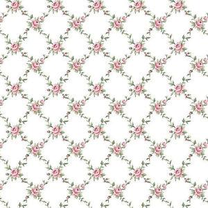 "Dollhouse Miniature Computer Printed Fabric 1:48 Quarter 1/4"" Pink Roses"