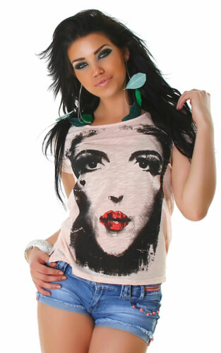 Shirt kurzärmelig Print Einheitsgröße 32 34 36 38 T-Shirt Top unisize Mode Neu