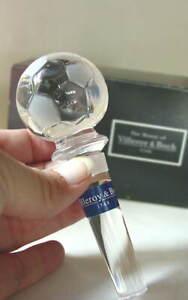 VILLEROY-amp-BOCH-Crystal-SOCCER-BALL-Bottle-Stopper-Unique-NEW-NIB