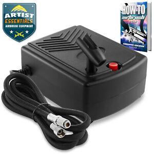 PointZero Mini Airbrush Air Compressor w/ Holder and 6 Ft. Hose - Portable Pump