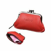 Katloo Womens Leather Kiss Lock Coin Change Purse Wallet Card Holder With Zip...