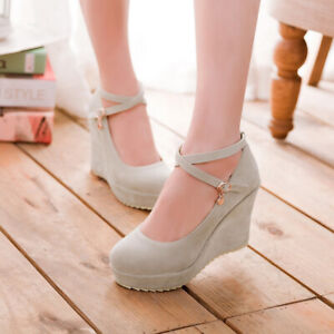 Women-Wedge-High-Heel-Cross-Strap-Pumps-Mary-Jane-Faux-Suede-Platform-Shoes-Size
