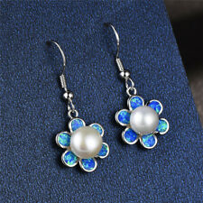 37b1762dd item 4 pearl Dangle Blue Fire Opal Stud Earrings 925 Silver Filled Jewelry  Wedding gift -pearl Dangle Blue Fire Opal Stud Earrings 925 Silver Filled  Jewelry ...