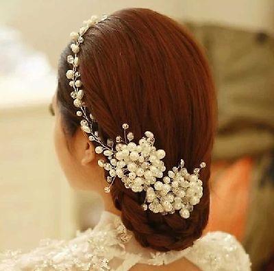 Ivory Pearl Cluster Soft Wire Wedding Vine Alligator Clip Hair Accessories