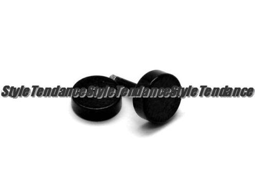 PAIRE BOUCLE D/'OREILLE HOMME ADO NEUF PUNK PUCE RONDE NOIR CLOU FERMOIR 8mm