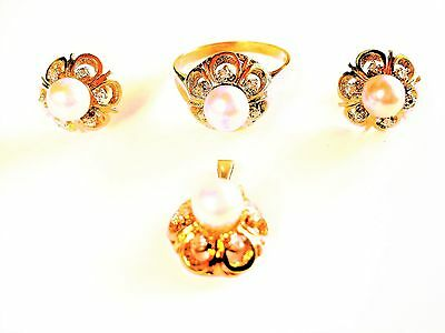 Jewelry Set Ring Pendant Earrings Gold 585 With Pearls And