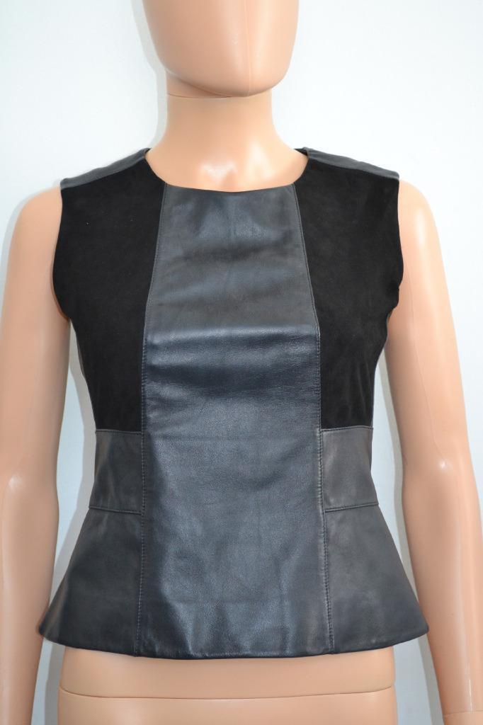 Belstaff schwarz Leather Suede Peplum Sleeveless Top Größe 38