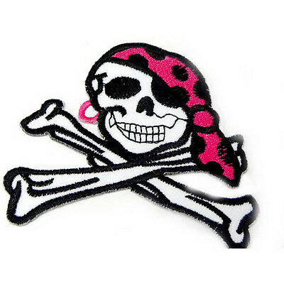 """3.2"""" Pirate Crossbone Grade A Iron on Patch Sew Embroidered Motif Applique I0178"""